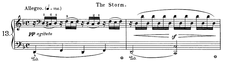 ブルグミュラー「18の練習曲第13番「大雷雨」ニ短調-ニ長調Op.109-13」ピアノ楽譜
