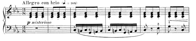 ブルグミュラー「25の練習曲第15番「バラード」ハ短調Op.100-15」ピアノ楽譜1