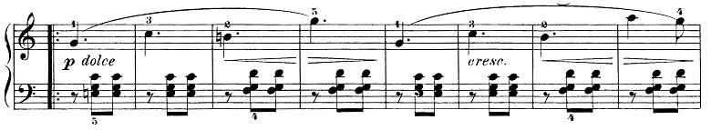 ブルグミュラー「25の練習曲第15番「バラード」ハ短調Op.100-15」ピアノ楽譜2