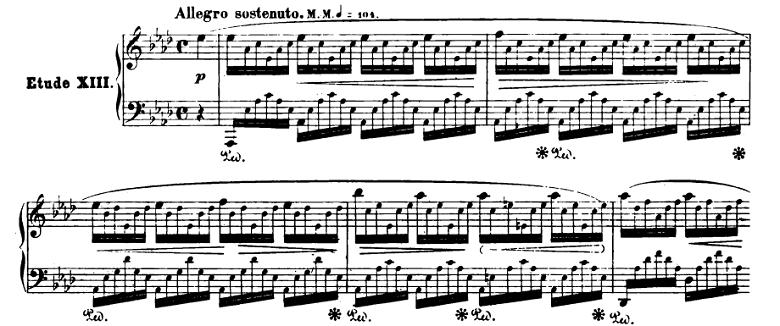 ショパンエチュード『エオリアン・ハープ』 変イ長調Op.25-1ピアノ楽譜1