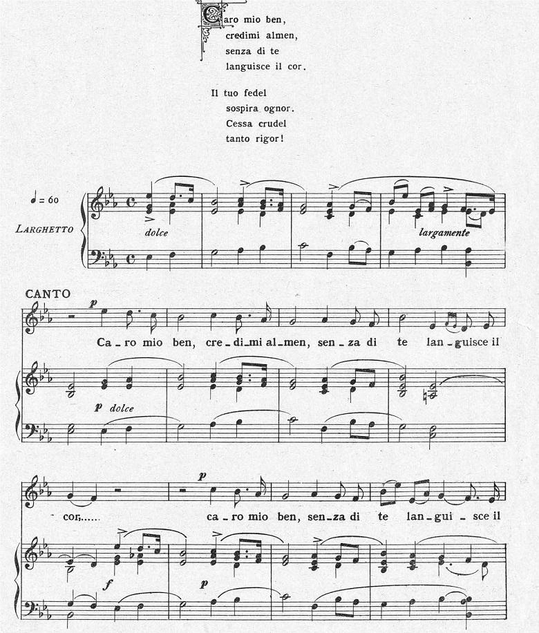 ジョルダーニ「カーロ・ミオ・ベン」ヘ長調/ピアノ編曲:変ホ長調の冒頭部分の楽譜