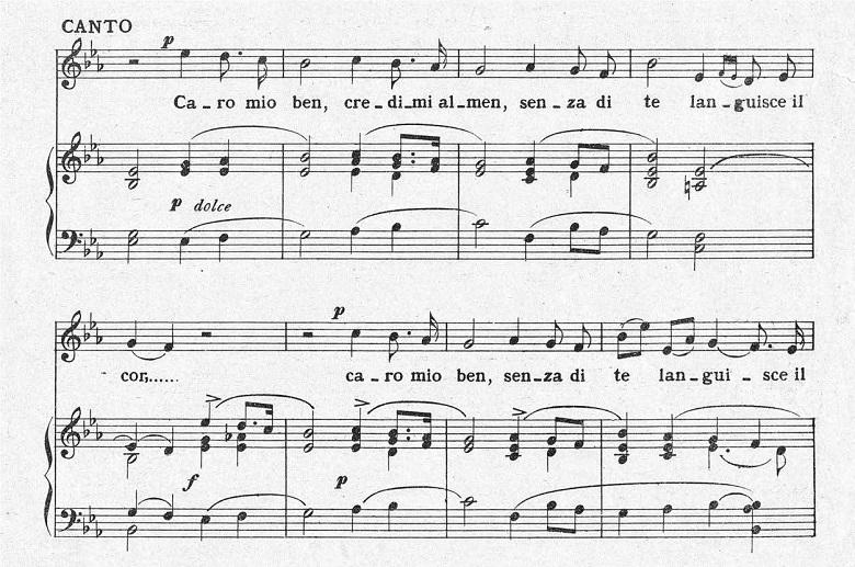 ジョルダーニ「カーロ・ミオ・ベン」ヘ長調/ピアノ編曲:変ホ長調の前奏から間奏が終わるまでの楽譜