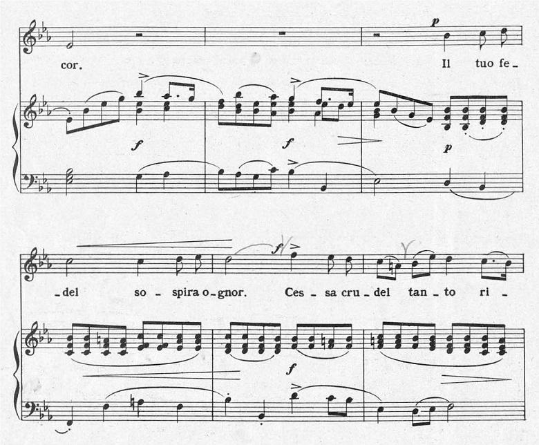 ジョルダーニ「カーロ・ミオ・ベン」ヘ長調/ピアノ編曲:変ホ長調の間奏後の楽譜