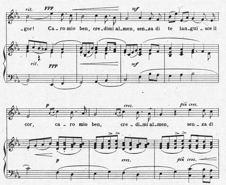 ジョルダーニ「カーロ・ミオ・ベン」ヘ長調/ピアノ編曲:変ホ長調の最初に戻ってきたところの楽譜