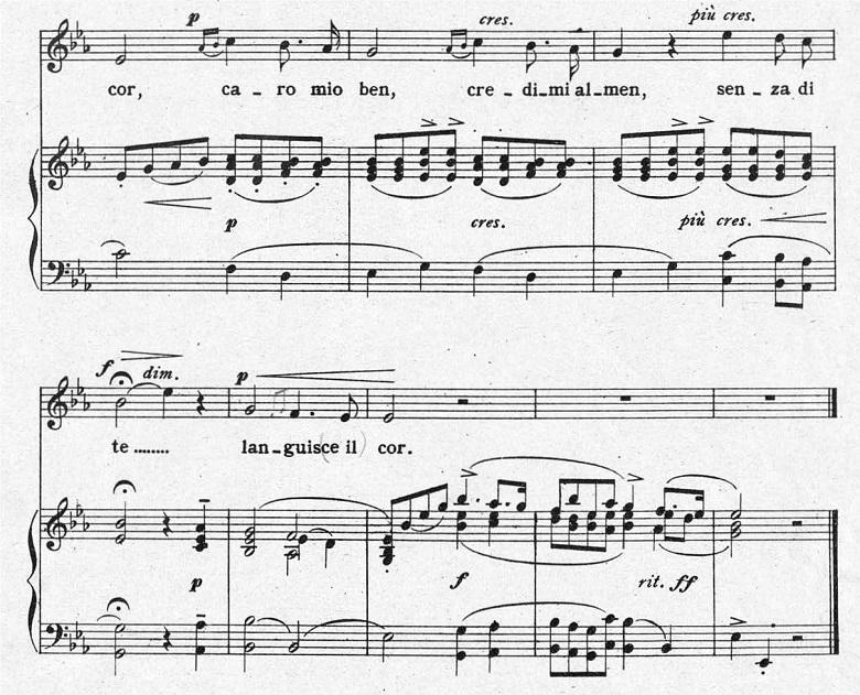 ジョルダーニ「カーロ・ミオ・ベン」ヘ長調/ピアノ編曲:変ホ長調の一番合わせにくい部分の楽譜