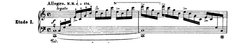 ショパンエチュードOp.10-1「滝」ハ長調 ピアノ楽譜1