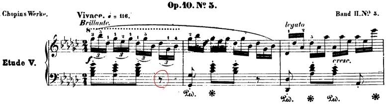 ショパン「黒鍵のエチュード」Op.10-5変ト長調 ピアノ楽譜1