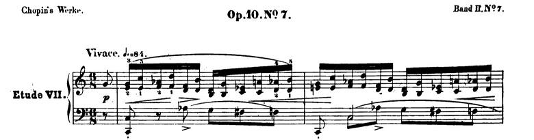 ショパンエチュードOp.10-7ハ長調 ピアノ楽譜1