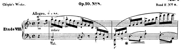 ショパンエチュードOp.10-8ヘ長調 ピアノ楽譜1