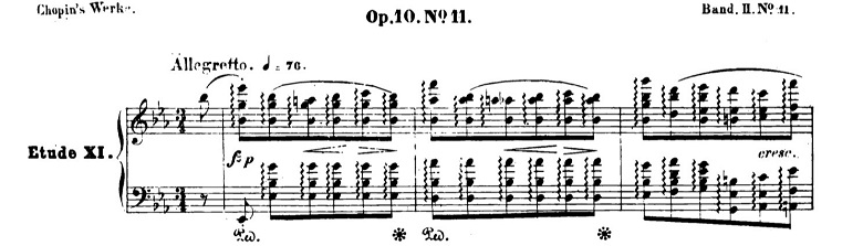 ショパンエチュードOp.10-11変ホ長調 ピアノ楽譜