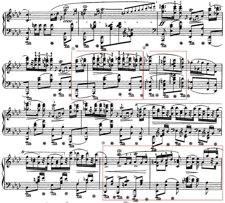 ショパン「ポロネーズ第6番『英雄ポロネーズ』変イ長調Op.53」3回目の主題のピアノ楽譜