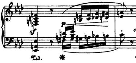 ショパン「ポロネーズ第6番『英雄ポロネーズ』変イ長調Op.53」序奏の4度のピアノ楽譜