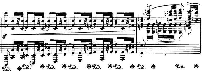 ショパン「ポロネーズ第6番『英雄ポロネーズ』変イ長調Op.53」経過的な部分のピアノ楽譜