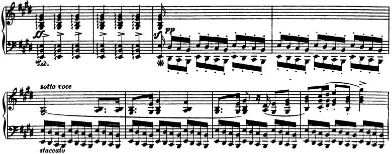 ショパン「ポロネーズ第6番『英雄ポロネーズ』変イ長調Op.53」中間部前奏風部分のピアノ楽譜