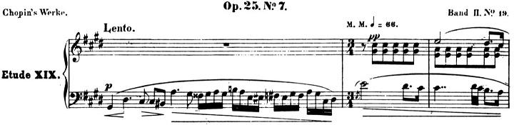 ショパンエチュード第7番「恋の二重唱」嬰ハ短調Op.25-7ピアノ楽譜1