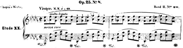 ショパンエチュード第8番変ニ長調Op.25-8ピアノ楽譜