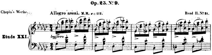 ショパンエチュード第9番「蝶々」変ト長調Op.25-9ピアノ楽譜