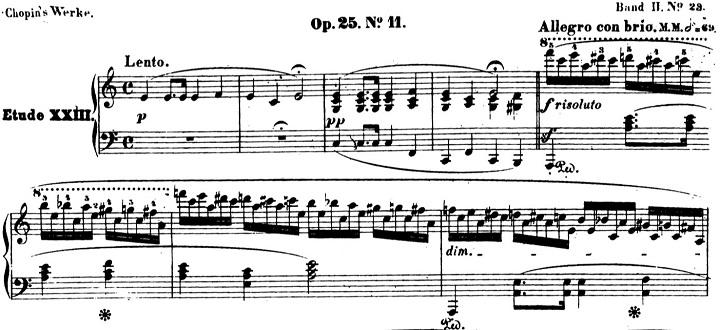 ショパンエチュード第11番「木枯らし」イ短調Op.25-11ピアノ楽譜