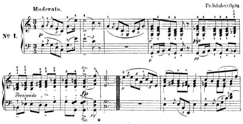 シューベルト「楽興の時」第1番  C dur ピアノ楽譜1