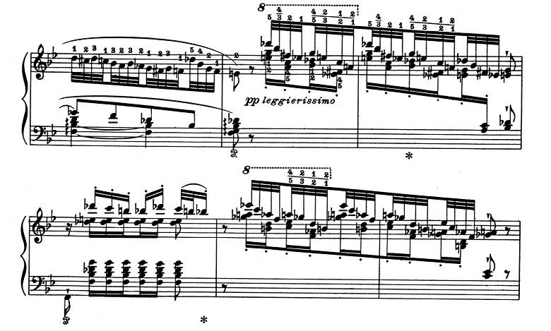 リスト「超絶技巧練習曲集S.139第5番「鬼火」変ロ長調」ピアノ楽譜2