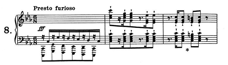 リスト「超絶技巧練習曲集S.139第8番「狩り」ハ短調」ピアノ楽譜1