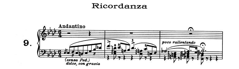 リスト「超絶技巧練習曲集S.139第9番「回想」変イ長調」ピアノ楽譜1