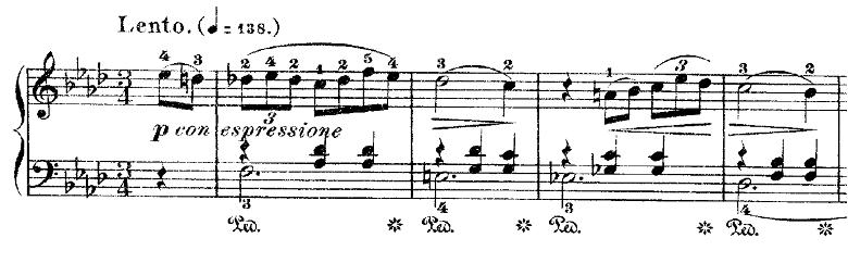ショパン「ワルツ第9番『別れのワルツ』変イ長調Op.69-1」冒頭のピアノ楽譜