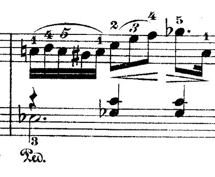 ショパン「ワルツ第9番『別れのワルツ』変イ長調Op.69-1」5連符+3連符のピアノ楽譜