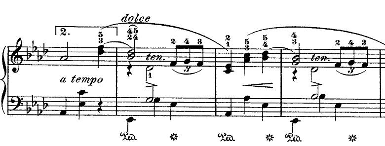 ショパン「ワルツ第9番『別れのワルツ』変イ長調Op.69-1」恋の駆け引き部分のピアノ楽譜