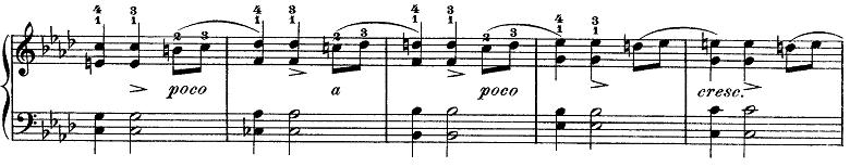 ショパン「ワルツ第9番『別れのワルツ』変イ長調Op.69-1」恋のときめきが高まる部分のピアノ楽譜