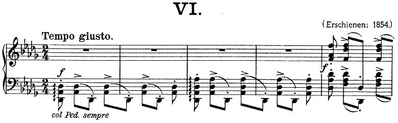 リスト「ハンガリー狂詩曲第6番変ニ長調S.244-6」ピアノ楽譜1