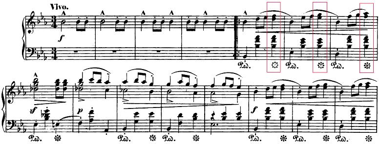 ショパン「ワルツ第1番『華麗なる大円舞曲』変ホ長調Op.18」最初の部分のピアノ楽譜