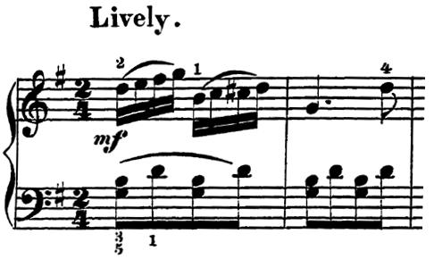 ローデ「フリーゲンデ・ブレッター第5番「マリオネット」ト長調Op.36-5」ピアノ楽譜1