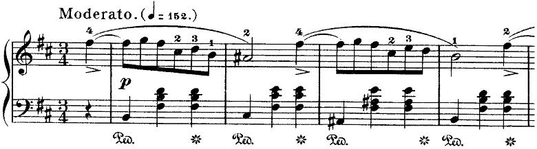 ショパン「ワルツ第10番ロ短調Op.69-2」Moderatoの部分のピアノ楽譜