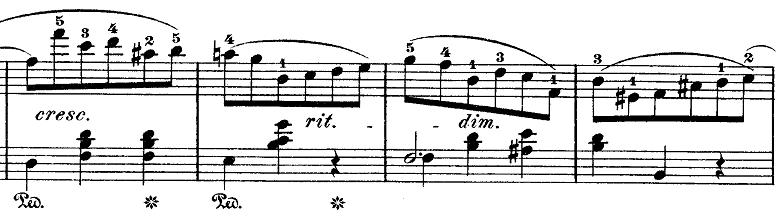ショパン「ワルツ第10番ロ短調Op.69-2」cresc.の部分のピアノ楽譜