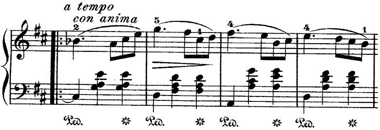 ショパン「ワルツ第10番ロ短調Op.69-2」con animaの部分のピアノ楽譜