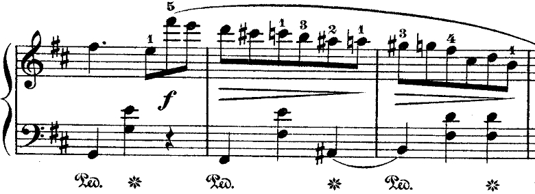 ショパン「ワルツ第10番ロ短調Op.69-2」旋律が盛り上がる部分のピアノ楽譜