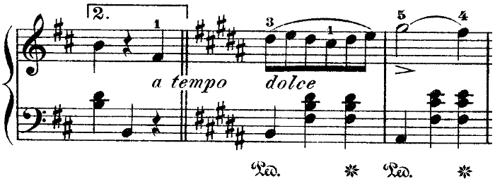 ショパン「ワルツ第10番ロ短調Op.69-2」ロ長調に変わる部分のピアノ楽譜