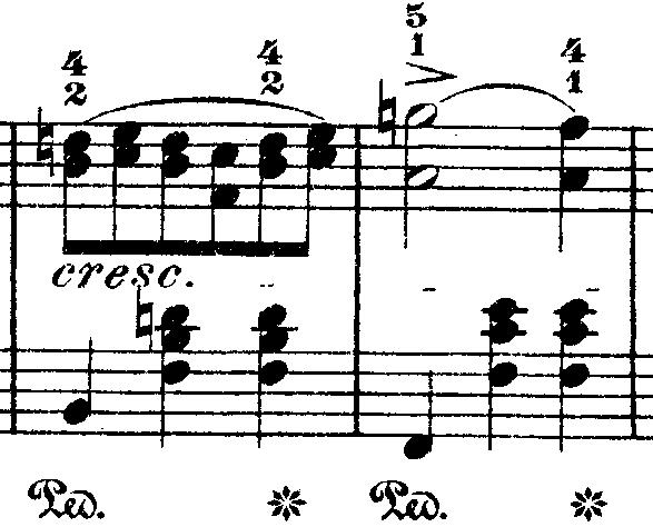 ショパン「ワルツ第10番ロ短調Op.69-2」ロ長調からロ短調に変化する部分のピアノ楽譜