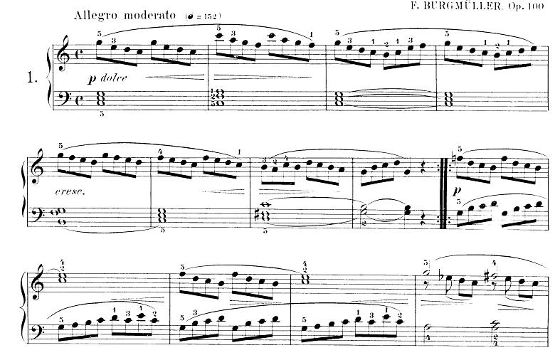 ブルグミュラー「25の練習曲第1番「すなおな心」ハ長調 4/4拍子」ピアノ楽譜
