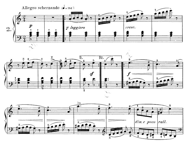 ブルグミュラー「25の練習曲第2番「アラベスク」イ短調 2/4拍子」ピアノ楽譜