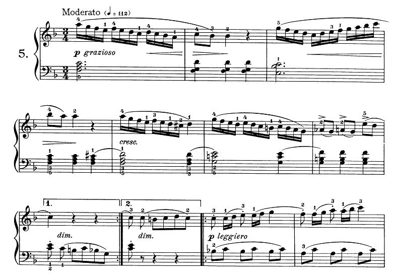 ブルグミュラー「25の練習曲第5番「無邪気」ヘ長調 3/4拍子」ピアノ楽譜