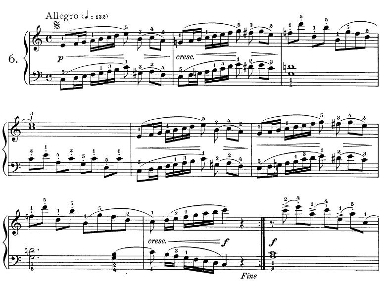 ブルグミュラー「25の練習曲第6番「進歩」ハ長調 4/4拍子」ピアノ楽譜