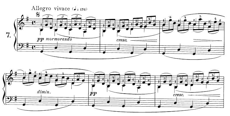 ブルグミュラー「25の練習曲第7番「清らかな小川」ト長調 4/4拍子」ピアノ楽譜
