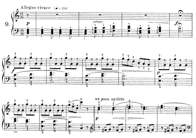 ブルグミュラー「25の練習曲第9番「狩」ハ長調 6/8拍子」ピアノ楽譜