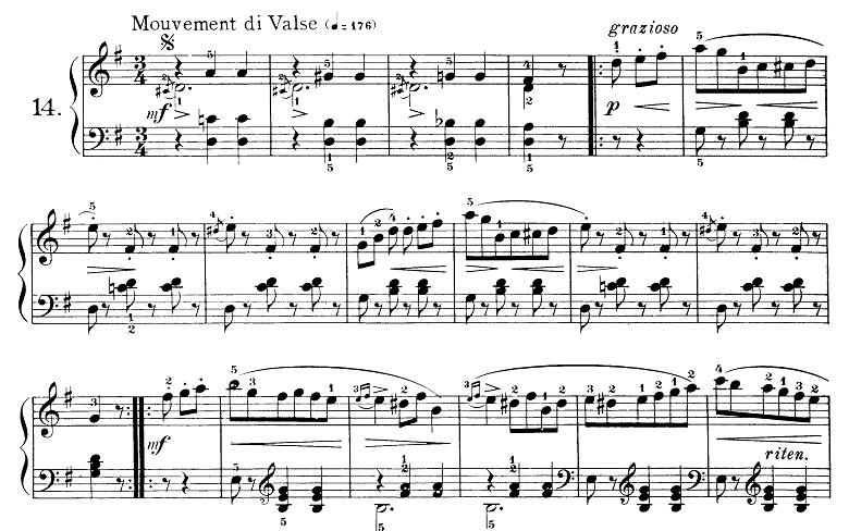 ブルグミュラー「25の練習曲第14番「シュタイヤー舞曲(アルプス地方の踊り)」ト長調 3/4拍子」ピアノ楽譜