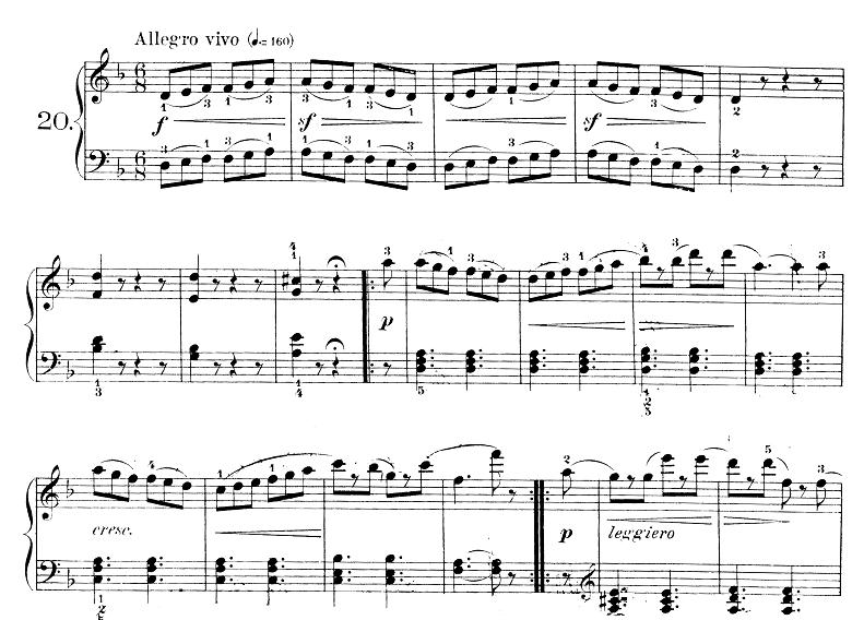 ブルグミュラー「25の練習曲第20番「タランテラ」ニ短調 6/8拍子」ピアノ楽譜