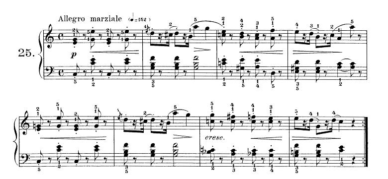 ブルグミュラー「25の練習曲第25番「貴婦人の乗馬」ハ長調 4/4拍子」ピアノ楽譜