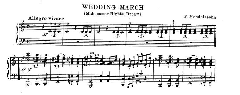 メンデルスゾーン「<真夏の夜の夢>劇付随音楽第9曲「結婚行進曲」ハ長調Op.61-9」ピアノ楽譜1