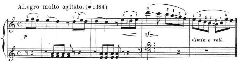 ブルグミュラー「25の練習曲第12番「さようなら」イ短調Op.100-12」ピアノ楽譜1